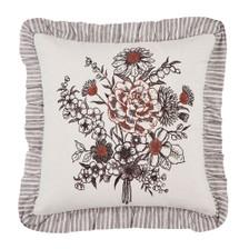 """Florette Floral Bouquet Ruffled Pillow 18"""" x 18"""""""