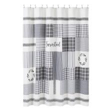 Sawyer Mill Black Stenciled Patchwork Shower Curtain