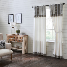Sawyer Mill Black Panel with Attached Patchwork Valance Set