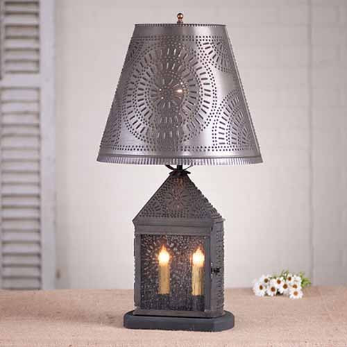 Harbor Table Lamp with Chisel Design in Blackened Tin