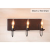 Three-Arm Vanity Light in Black w/ Red Stripe