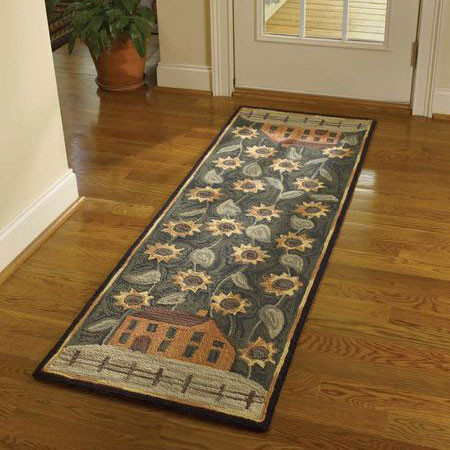 House and Sunflowers Hooked Rug Runner