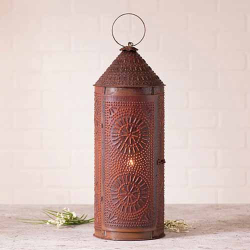 "22"" Chimney Lantern in Rustic Tin"