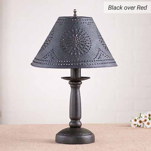 Butcher's Chamberstick Lamp in Black over Red