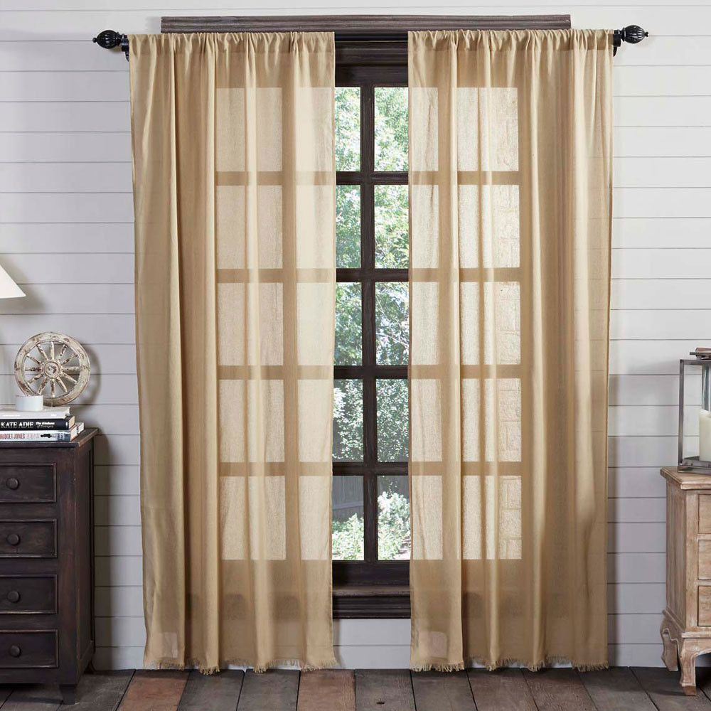 Tobacco Cloth Khaki Curtain Panel Set By Victorian Heart