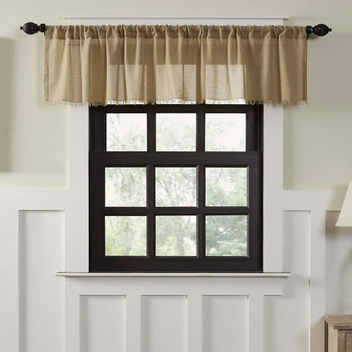 Tobacco Cloth Khaki Valance Fringed