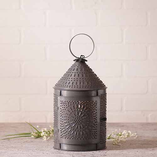Fireside Lantern in a Blackened Tin Finish