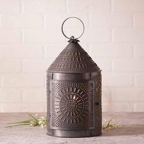 Large Fireside Lantern in a Blackened Tin Finish