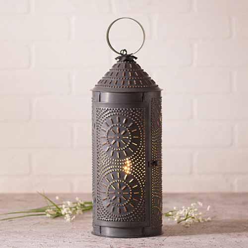 "Chimney 18"" Lantern in a Blackened Tin Finish"