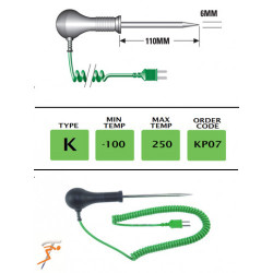 KP07 - K Type Heavy Duty Needle Probe 110mm x 6mm | Thermometer Point