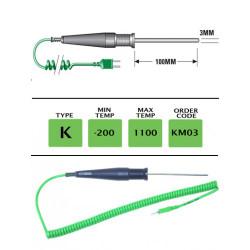 KM03 - K Type General Purpose (MI) Probe 100mm x 3mm | Thermometer Point