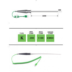 KM04 - K Type Extended Gen. Purpose (MI) Probe 300mm x 3mm | Thermometer Point