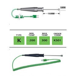 KS01- K Type Fast Response Ribbon Probe 110mm x 10mm | Thermometer Point