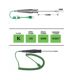 KS07 - K Type High Temperature Surface Probe 110mm x 6mm | Thermometer Point