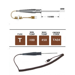TA04 - T Type General Purpose Still Air Probe 110mm x 4mm | Thermometer Point