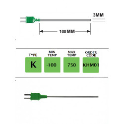 KHM01- K Type Plug Mounted G/Purpose(Binder)Probe100mmx3mm | Thermometer Point