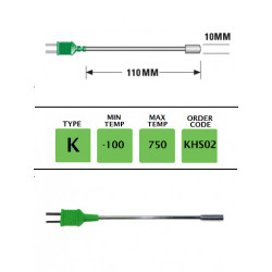KHS02 - K Type Plug Mounted Surface Probe 110mm x 10mm | Thermometer Point