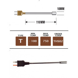 THS02 - T Type Plug Mounted Surface Probe 110mm x 10mm | Thermometer Point