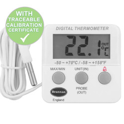 Brannan Fridge Freezer Thermometer With Alarm & Calibration Certificate | Thermometer Point