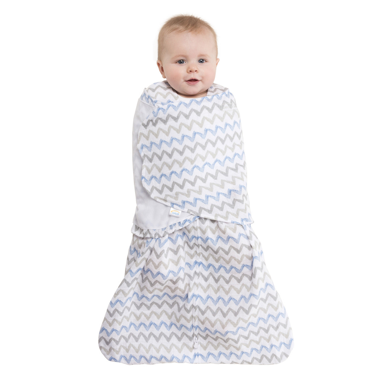 release date: 12388 30849 HALO® SleepSack® swaddle 100% Cotton Muslin | Chevron Taupe
