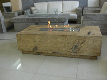 Wood style coffee table with built in ifire.