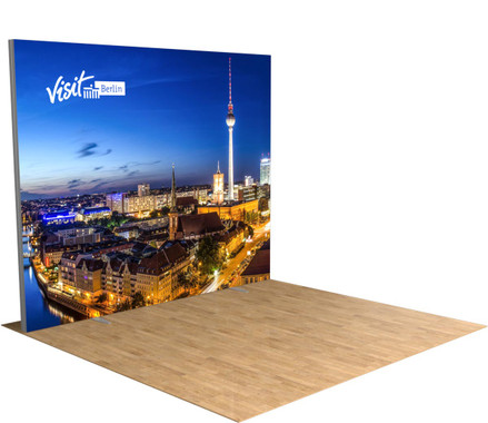 10' FireFly trade show display illuminated from the inside to make your brand stand out at conventions!