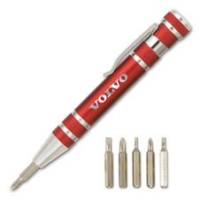 Anodized aluminum multi-head screwdriver tool in pen shaped case with pocket clip is a great tradeshow giveaway.