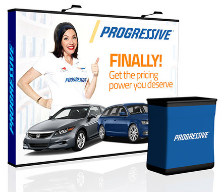 10' Perfect-Pop Trade Show Display with optional LED lights, hard case that converts into a podium, and podium graphic!