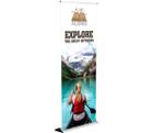 "The 36"" Silver Step Banner Stand - a staple in trade show displays!"