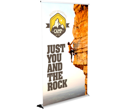 "The 60"" Silver Step Banner Stand - a staple in trade show displays!"