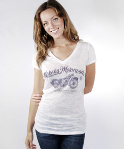 Moksha Motors White vneck T-Shirt