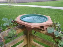 Deck mounted bird bath.  Red cedar frame with removable pan, available in green or clay color