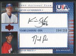 2005 DAVID PRICE KEVIN GUNDERSON UPPER DECK USA #/250 AUTO #4176
