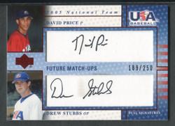 2005 DAVID PRICE DREW STUBBS UPPER DECK USA #/250 AUTO #4179