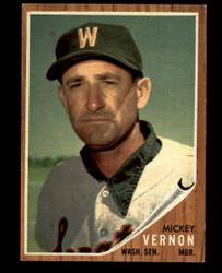 1962 MICKEY VERNON TOPPS #152 GREEN TINT SENATORS EX #1017