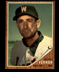 1962 MICKEY VERNON TOPPS #152 GREEN TINT SENATORS EX #1610