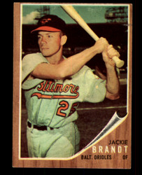 1962 JACKIE BRANDT TOPPS #165 GREEN TINT ORIOLES EX #4868