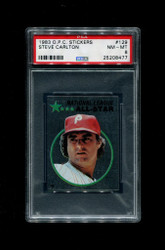 1982 STEVE CARLTON OPC #129 O-PEE-CHEE STICKERS PHILLIES PSA 8