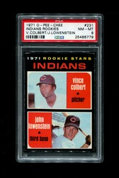 1971 INDIANS ROOKIE STARS OPC #231 O PEE CHEE COLBERT LOWENSTEIN PSA 8