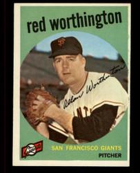 1959 RED WORTHINGTON  TOPPS #28 GIANTS EXMT #4486