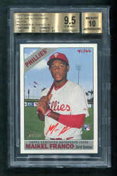 2015 MAIKEL FRANCO TOPPS HERITAGE #MFR REAL ONE RED BGS 9.5 AUTO 10