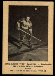 1951 JEAN-CLAUDE CAMPEAU LAVAL DAIRY #43 QSHL EX #5358