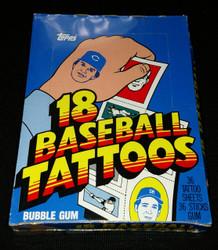 1986 TOPPS TATTOOS BASEBALL UNOPENED WAX BOX