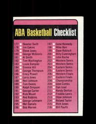 1973 CHECKLIST TOPPS #242 ABA BASKETBALL NM #5468