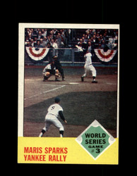 1963 WORLD SERIES GAME 3 TOPPS #144 MARIS SPARKS YANKEE RALLY EX-EXMT #5919