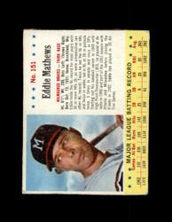1963 EDDIE MATHEWS POST #151 JELLO BRAVES VG/MK #6560