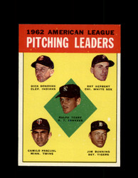 1963 AL PITCHING LEADERS TOPPS #8 BUNNING TERRY PASCUAL NM #5732