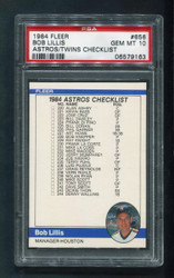 1984 CHECKLIST FLEER #656 BASEBALL ASTROS/TWINS PSA 10