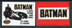 1989 TOPPS BATMAN SERIES 1 COMPLETE 132 CARD SET WITH 22 STICKERS