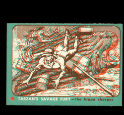 1953 TOPPS TARZAN #24 SAVAGE FURY 3D THE HIPPO CHARGES EXMT/NM *8792